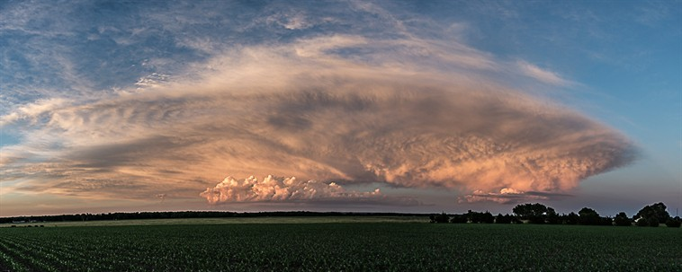 Sunset storm pano